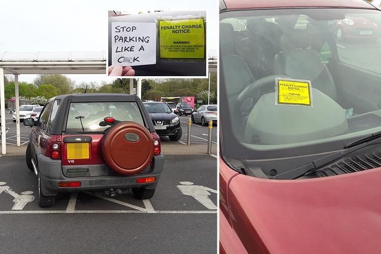 Sales rep sticks very rude note inside penalty notice on car parked over two parent-and-child bays