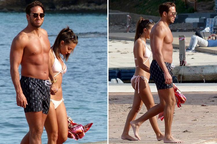 Towie's James Lock and girlfriend Yazmin Oukhellou look tanned and toned as they hit the beach in Mallorca