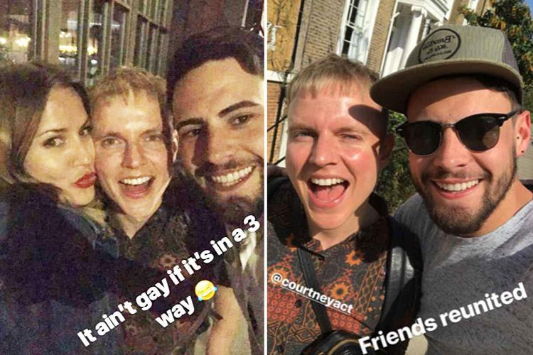 Andrew Brady and Caroline Flack cuddle up to CBB pal Courtney Act for night out in London