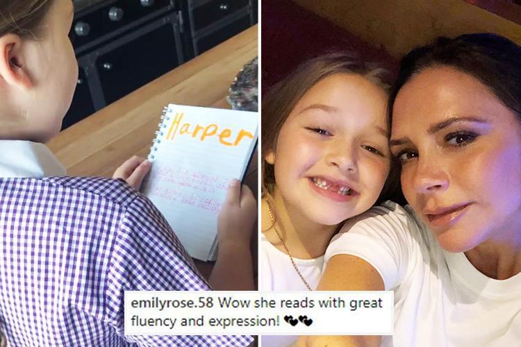 Victoria Beckham fans can't get over 'posh' daughter Harper's accent in cute new video of her reading