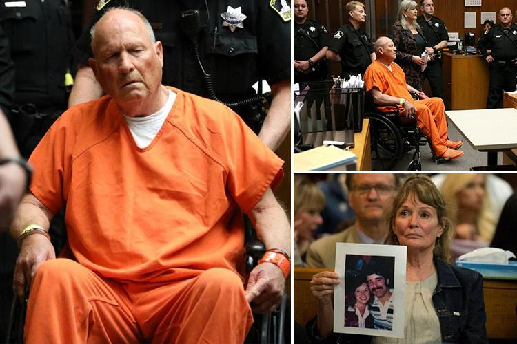 Dazed 'Golden State Killer' appears in packed courtroom shackled to wheelchair as ex-cop, 72, charged with brutal slayings