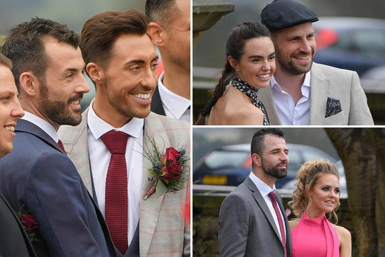 Hollyoaks' Ross Adams pictured at his lavish wedding to partner Philip Crusham with co-stars Stephanie Waring and Jennifer Metcalfe