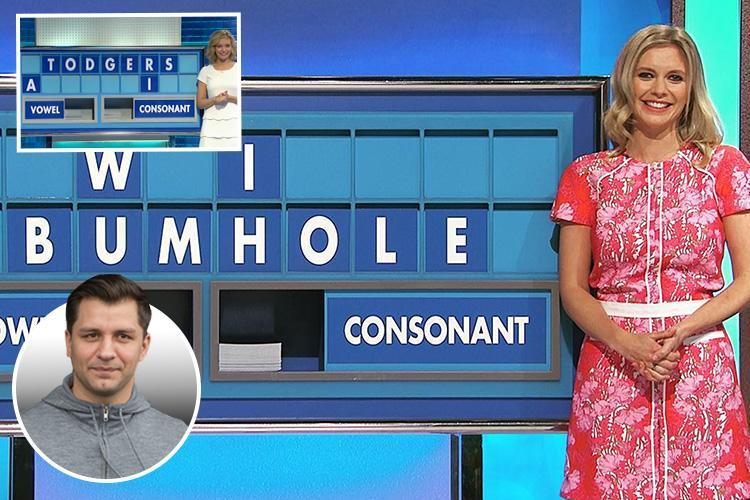 Countdown presenter Rachel Riley left blushing after her boyfriend spells out 'bumhole' on show