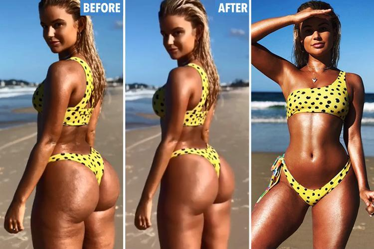 Bikini designer reveals exactly how bloggers edit their pics to get that Instagram booty after being 'fat-shamed' by trolls