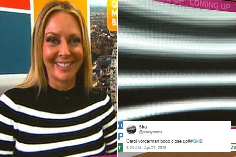 Good Morning Britain viewers in hysterics as camera operator accidentally zooms in on Carol Vorderman's boobs