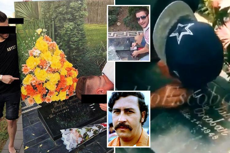 Tourists snapped 'snorting cocaine' off drug lord Pablo Escobar's grave headstone in sick new trend