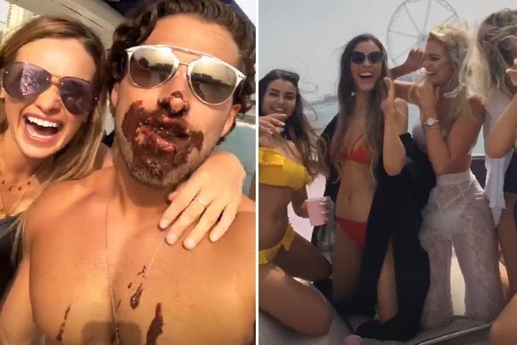 Topless Kem Cetinay parties with girls with chocolate smeared all over his face as he reveals he's 'looking for love'
