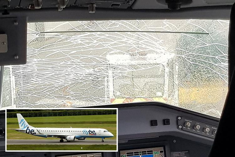 Flybe flight forced to turn round moments after take-off after huge cracks appear in windscreen