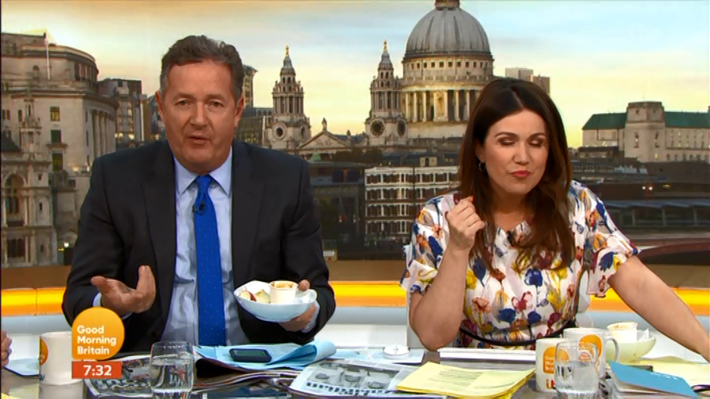 Good Morning Britain's Piers Morgan and Susanna Reid are caught eating their breakfast on air