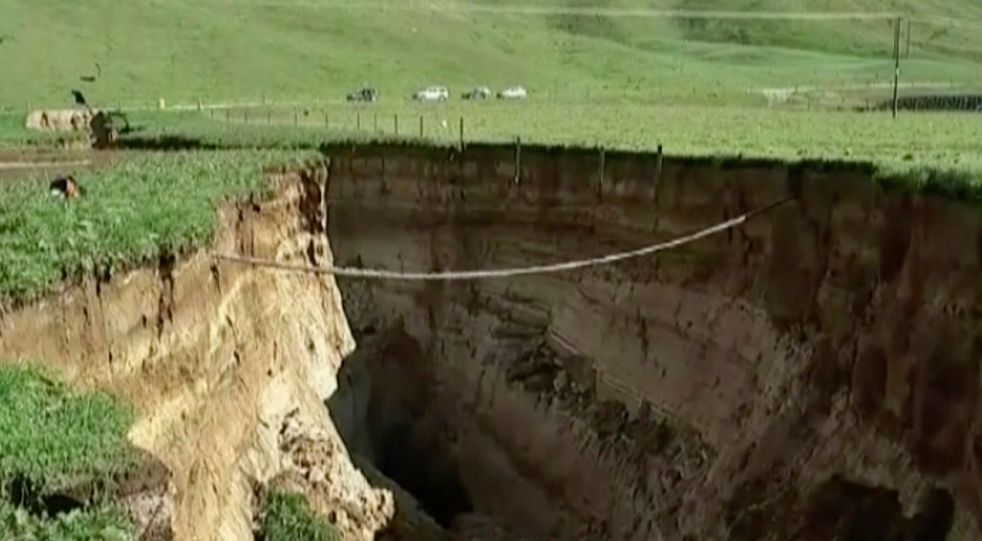 Sinkhole the size of two football fields opens up in New Zealand