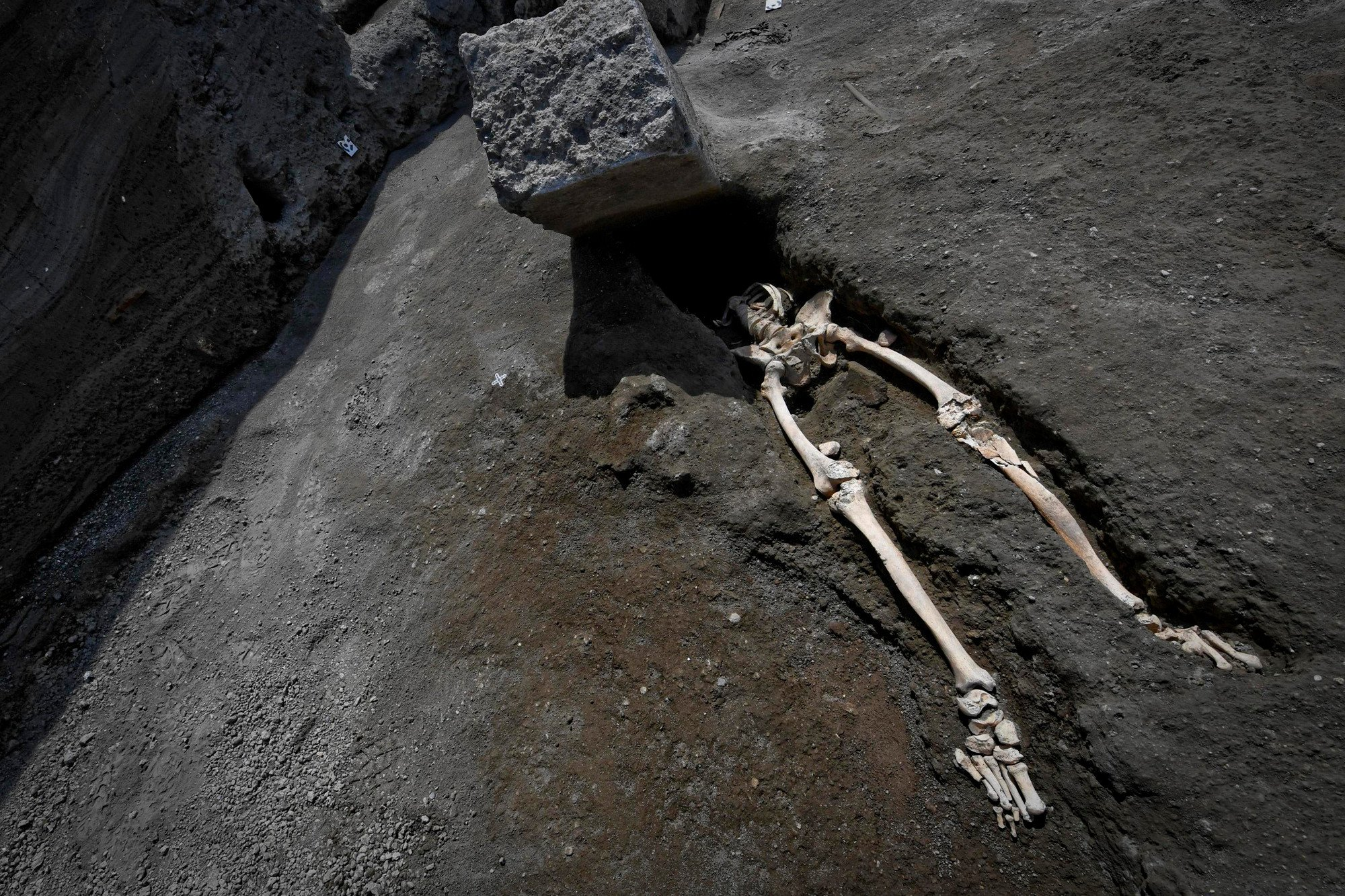 Skeleton unearthed of man crushed by falling rock during Pompeii eruption