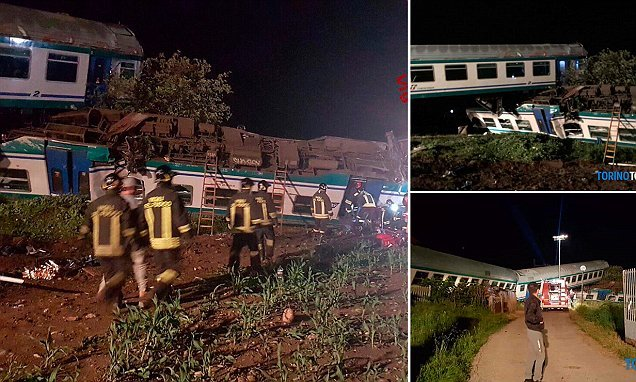 One dead and 16 injured as train ploughs into truck in northern Italy