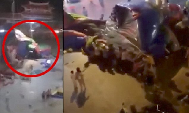 Boy, six, dies after bouncy castle is lifted up by high winds in China