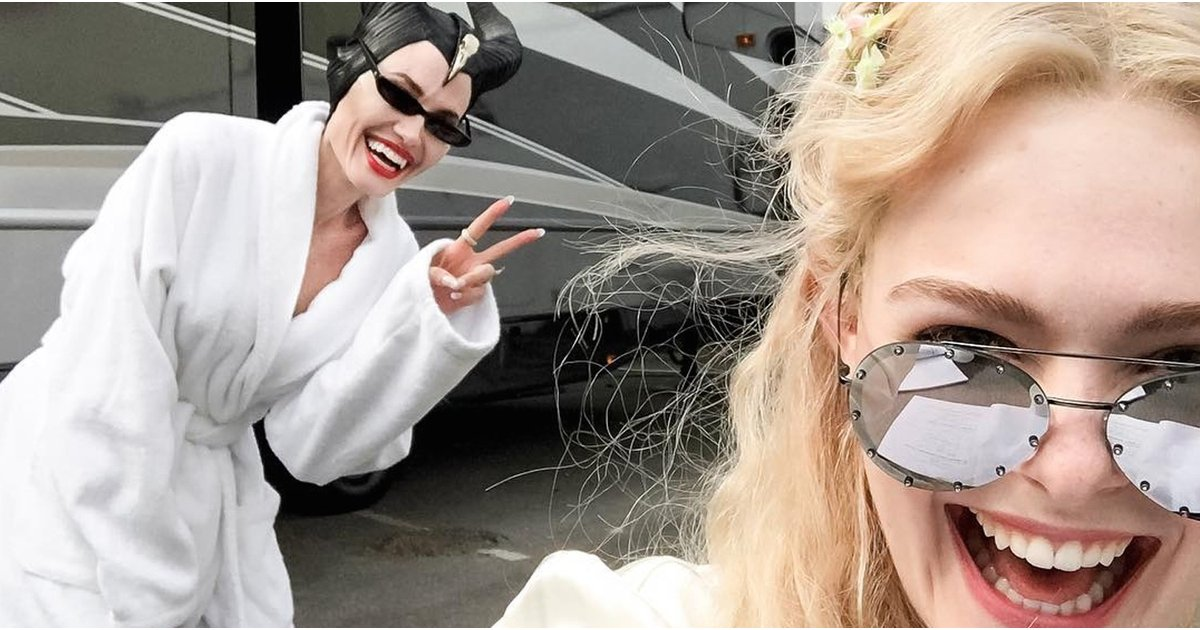 """Elle Fanning Reunites With """"Mom"""" Angelina Jolie on the Set of the Maleficent Sequel"""