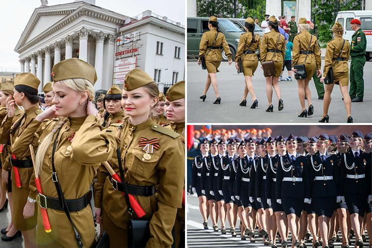Sexy female cadets in Soviet-style uniforms steal the show at Putin's Victory Day parades