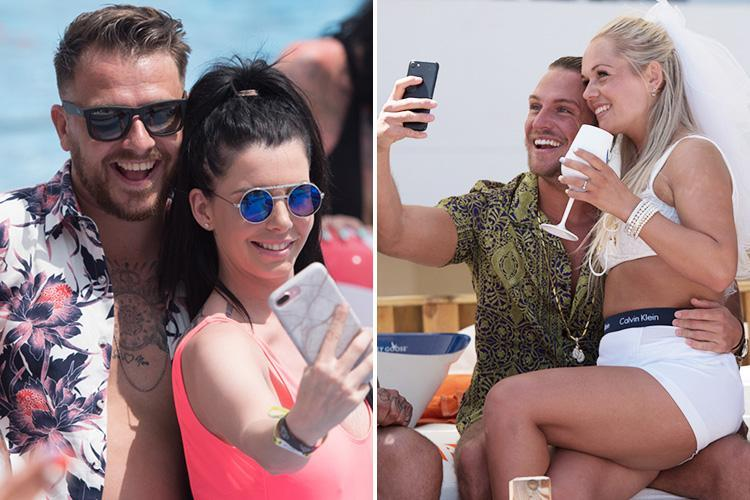 Tom Zanetti and Dapper Laughs pose for selfies with bikini-clad revellers as they enjoy a pool party in Majorca