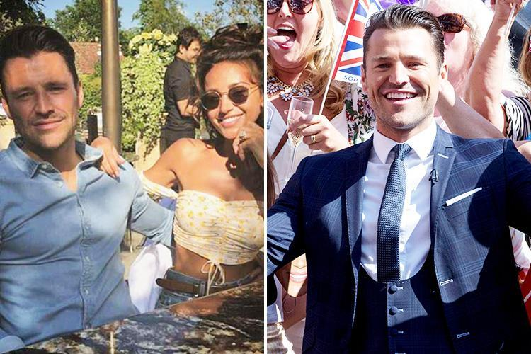 Mark Wright and Michelle Keegan enjoy loved-up lunch in Essex after TV presenter flew in to cover Royal Wedding for US TV
