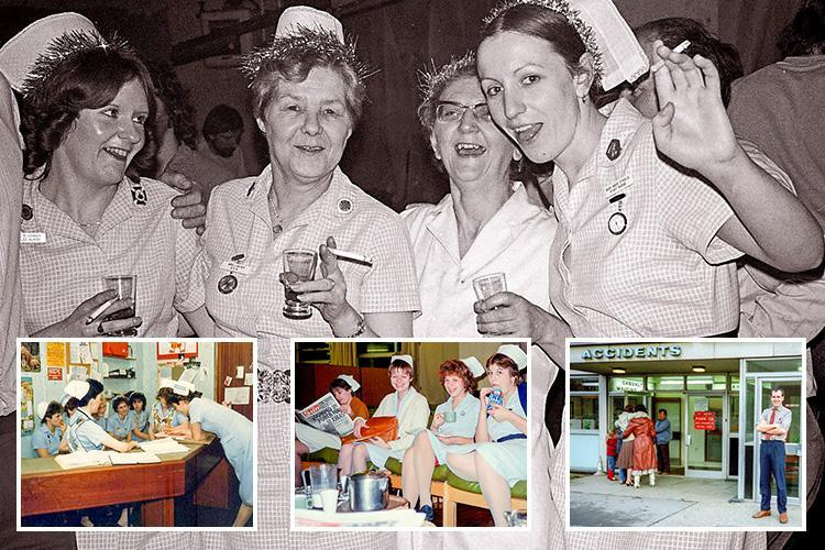 NHS photos over 40 years show nurses cuddling patients and relaxing off-duty with fags and booze – showing the way it used to be
