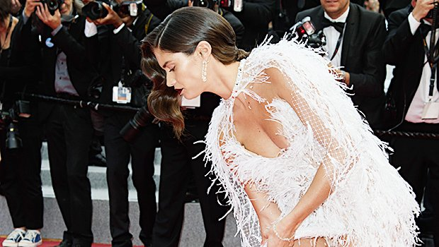 Sara Sampaio's Heel Gets Caught In Feathered Gown At Cannes: See Wardrobe Malfunction