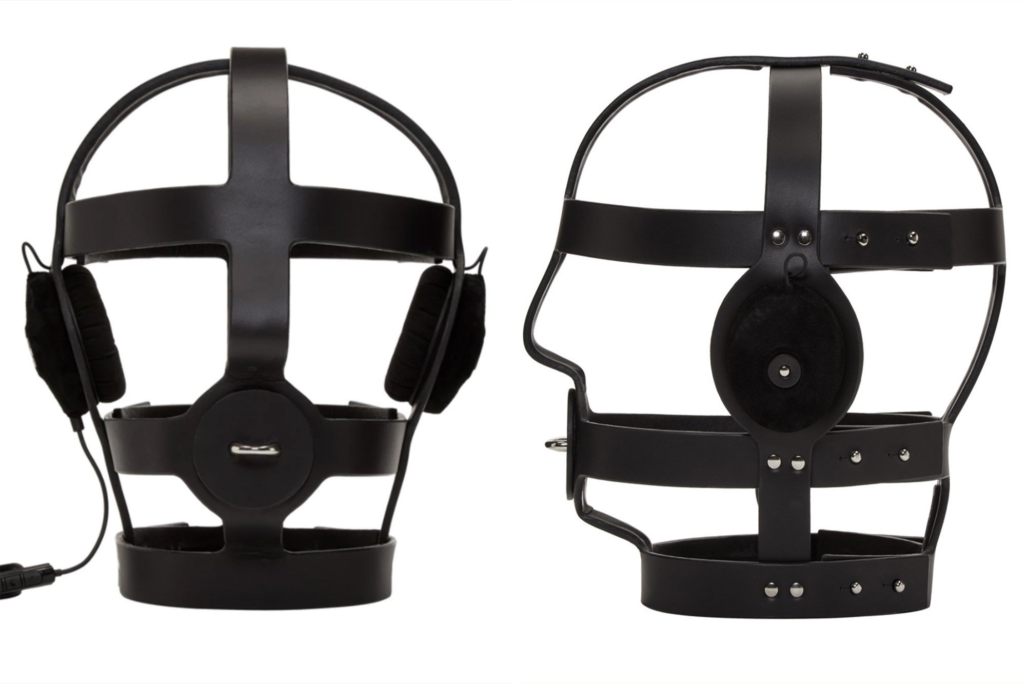 This terrifying bondage mask also plays music