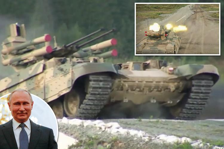 Russian army releases video of terrifying new 'Terminator' tank designed to fight on after nuclear war – on the day Putin becomes President