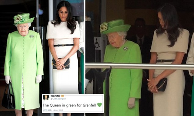 Queen praised for wearing 'green for Grenfell'