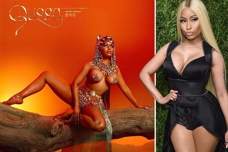 Nicki Minaj poses topless with beaded nipple pasties in risque shot for new album Queen