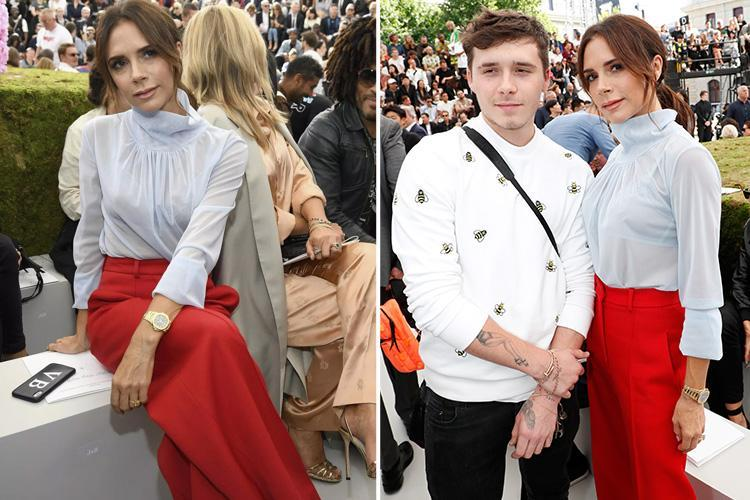 Victoria Beckham wows in high-waisted red flares and sheer blouse in Paris as she takes son Brooklyn to work – The Sun