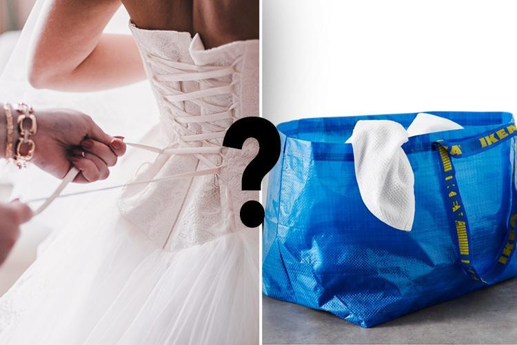 Bride invents genius hack to hold her dress up while she has a pee…by 'wearing' an IKEA bag