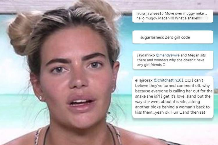 Love Island's Megan is viciously trolled on Instagram and branded a 'full on snake' over 'muggy' antics