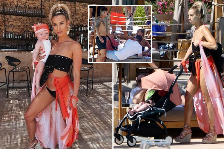 Ferne McCann shows off her stunning figure in a strapless bikini as she relaxes by the pool with two male pals in Marbella