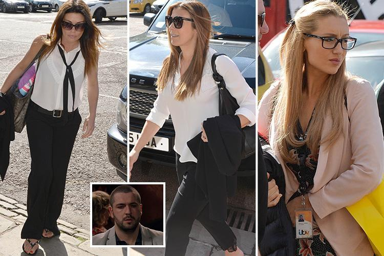Coronation Street stars Alison King, Kym Marsh and Catherine Tyldesley arrive on set to film inquest into Aidan Connor's death