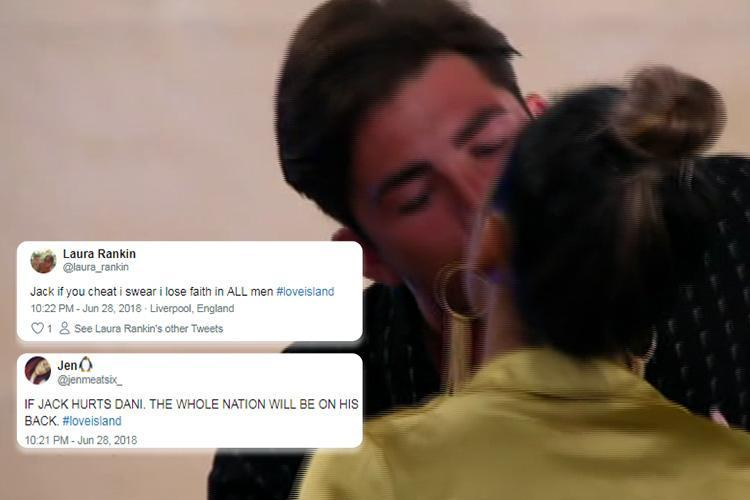 Love Island viewers desperately warn Jack Fincham not to cheat on Dani Dyer as he appears to kiss his ex