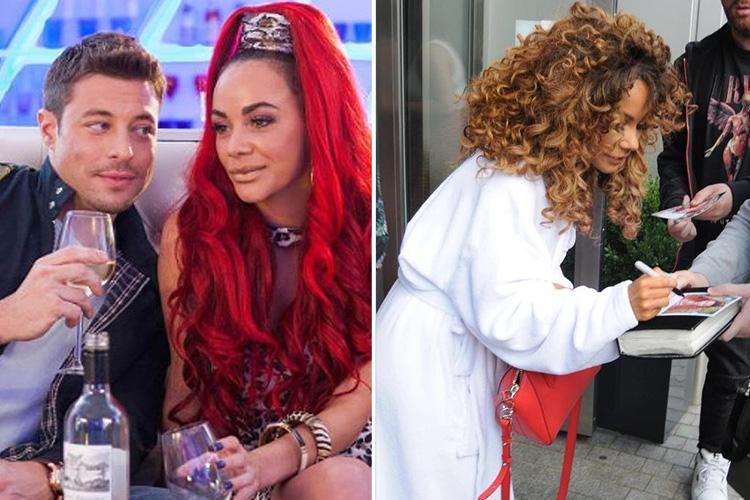 Hollyoaks' Chelsee Healey signs autographs in her dressing gown as soap stars arrive for Soap Awards tonight