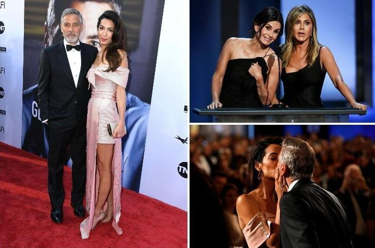 George and Amal Clooney smooch as hes honoured with lifetime achievement gong at Hollywood gala