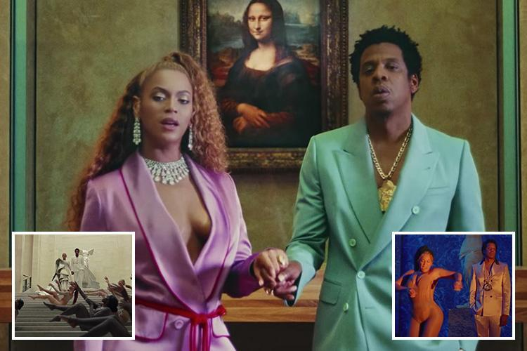 Beyonce and Jay Z shut down the Louvre in the video for new song Apes**t that slams the Super Bowl, Spotify and the Grammy Awards