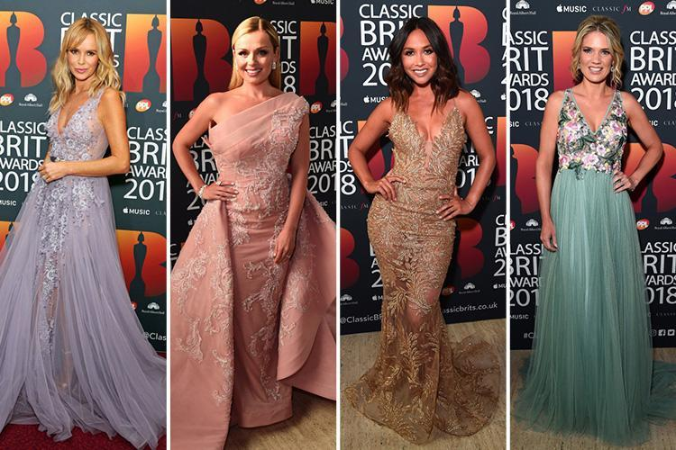 Amanda Holden and Myleene Klass wow in stunning sheer gowns at Classic Brit Awards