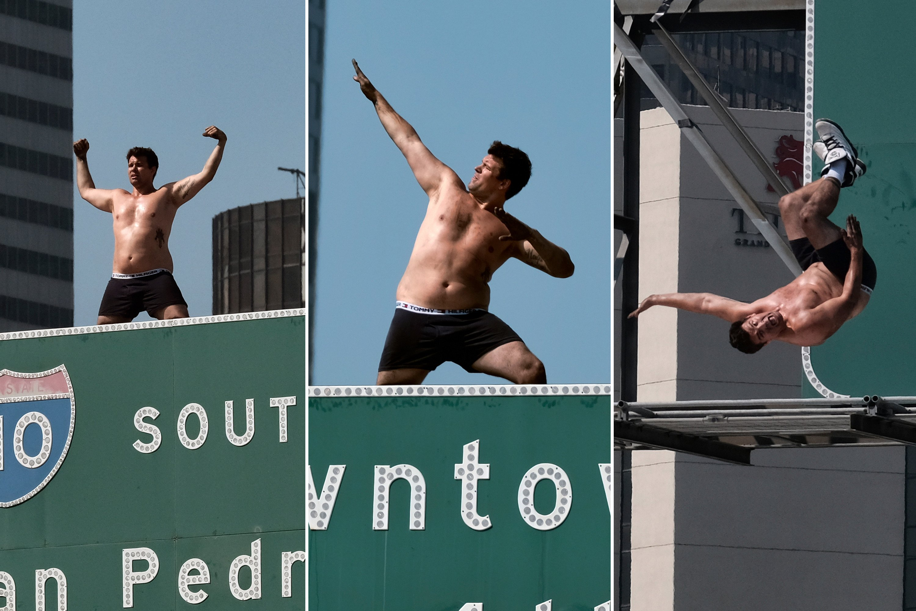 Man in underwear scales LA freeway sign, backflips off
