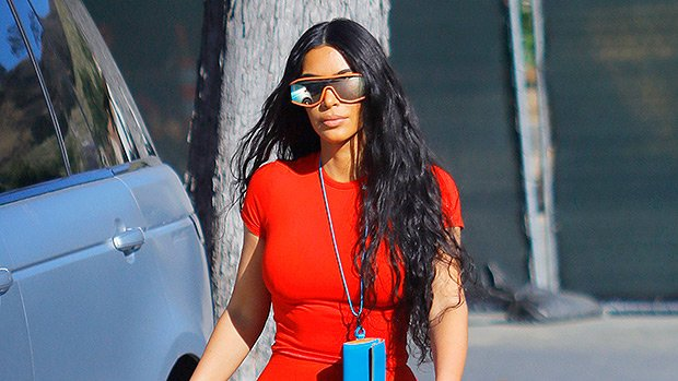Kim Kardashian Slips Into A Skintight Red Romper Just For Kanye West — See Pics