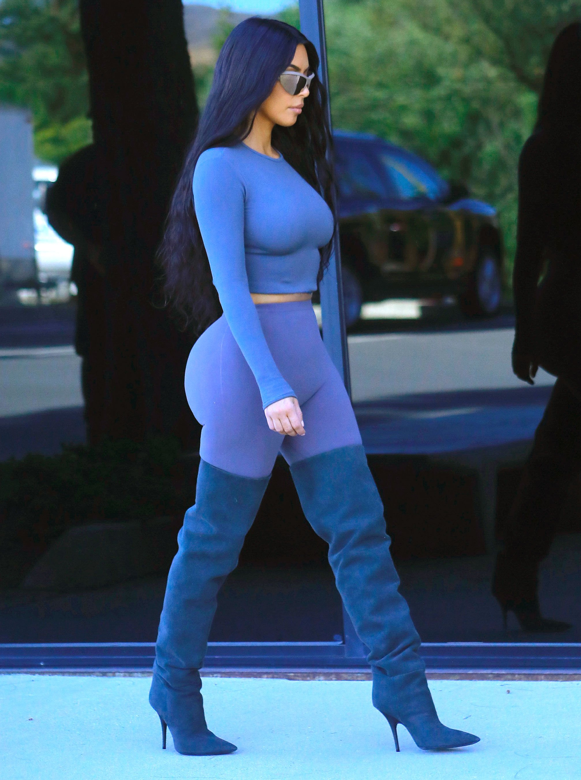 'Something Is Coming!' Kim Kardashian Debuts New Blue Hair for Latest Yeezy Photo Shoot