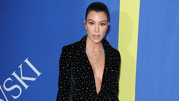 Kourtney Kardashian Goes Braless In Sparkly Pantsuit As She Supports Kim At CFDA Awards