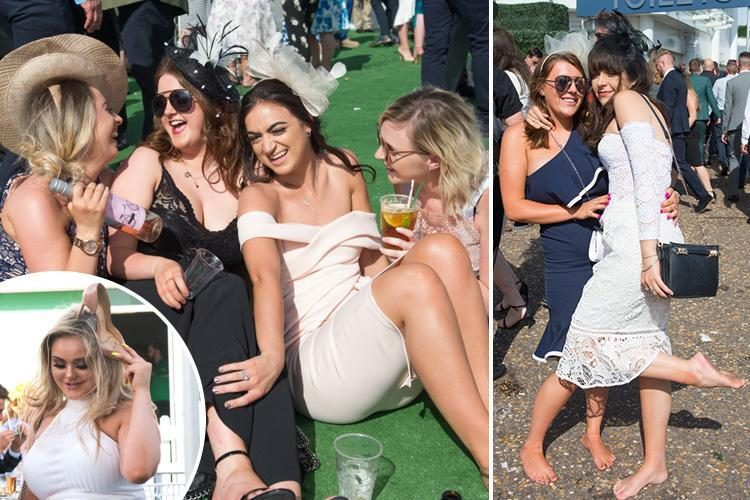 Epsom Ladies Day punters in high spirits after day of Pimms in the sunshine