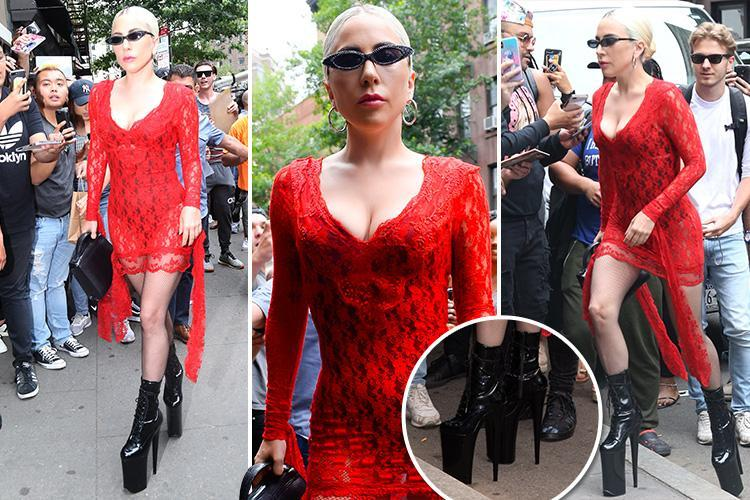 Lady Gaga defies gravity in sky-high platform boots out and about in New York