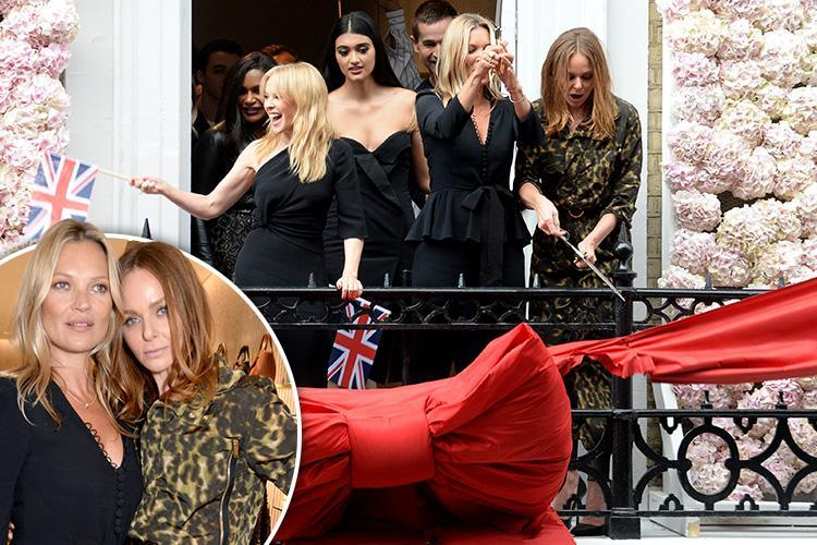 Kate Moss and Kylie Minogue dance and wave flags as they help pal Stella McCartney open her London flagship store
