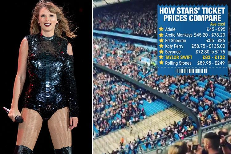 Taylor Swift struggling to fill stadiums on her UK Reputation Tour due to 'extortionate cost of tickets'
