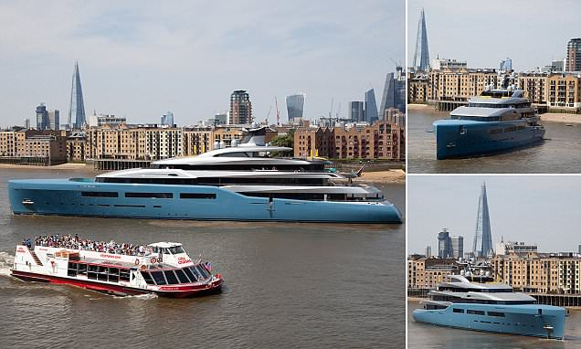 Spurs owner's 321ft super yacht spotted sailing down the River Thames