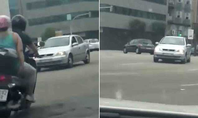 Drugged driver REVERSES along busy Spanish city streets