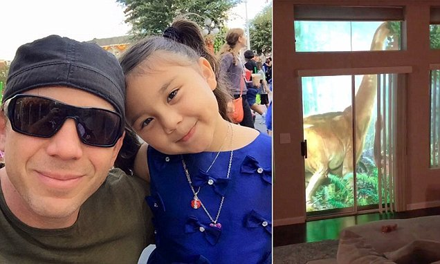 Dad uses projectors to surprise his daughter with backyard dinosaurs