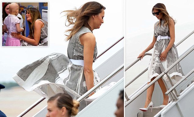 Melania Trump gets caught by gust of wind during Tennessee visit