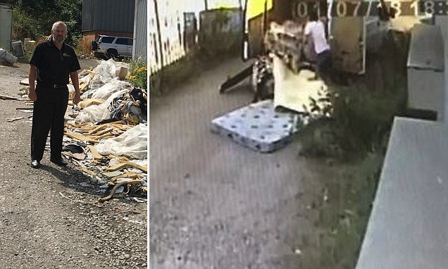 Fly-tippers caught in the act as they dump waste at CCTV firm's door